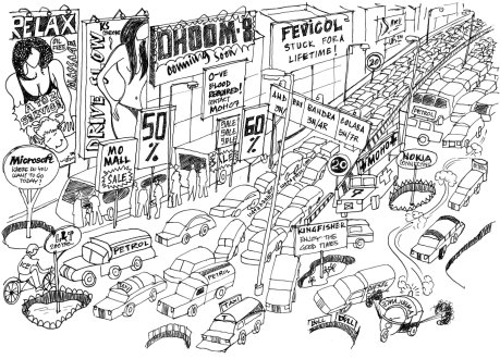 Mumbai Traffic, cartoon, year , 2050, cars, jam